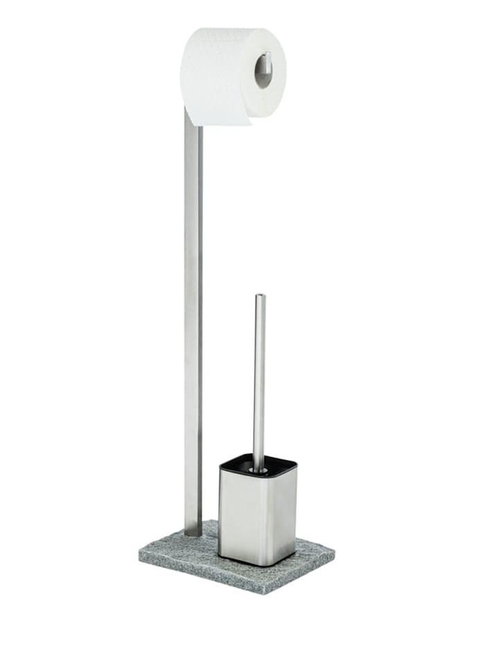 Wenko Stand WC-Garnitur Granit Edelstahl, Edelstahl rostfrei, Gestell/WC-Behälter: Satiniert, Bodenplatte: Grau