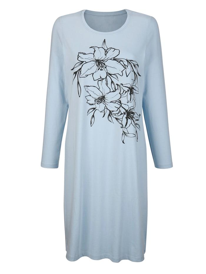 Harmony Nachthemd met bloemenprint, Ijsblauw