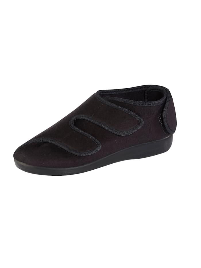 OrthoMed Hausschuh ideal geeignet bei empfindlichen Füßen, Schwarz