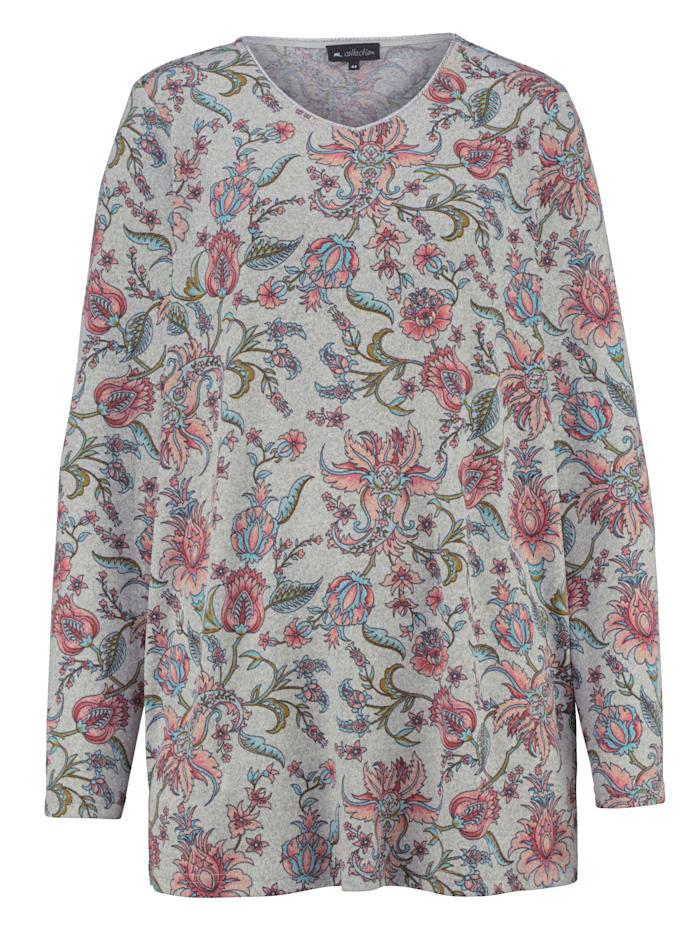 m. collection Shirt met bloemendessin, Grijs/Koraal