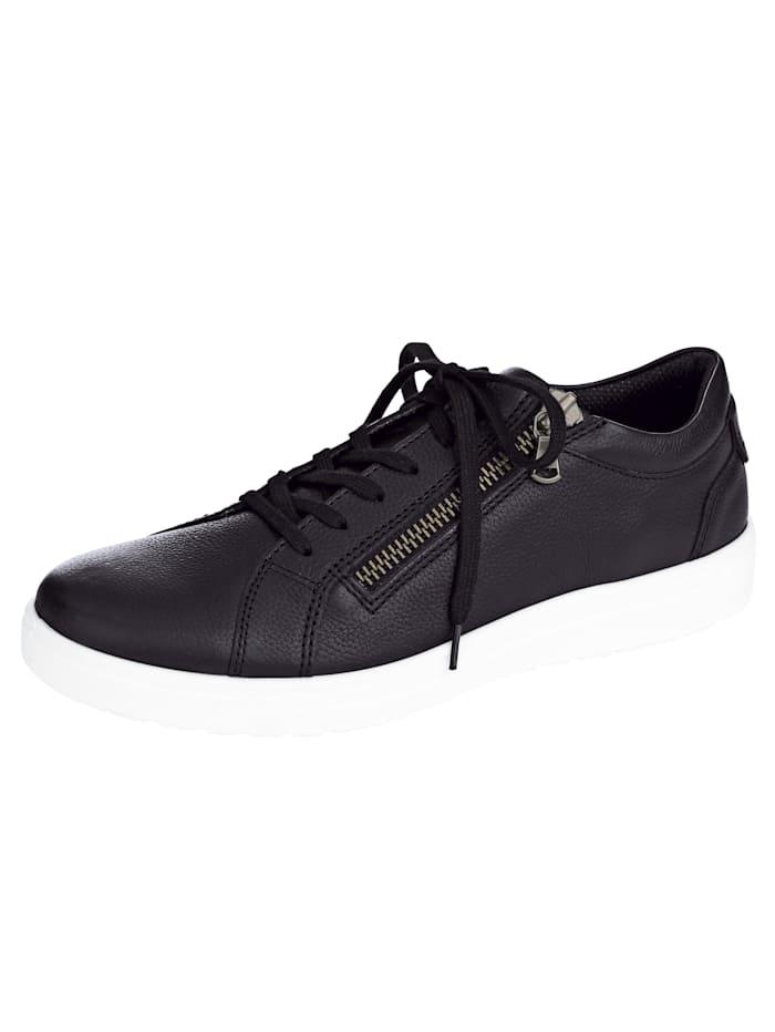 Jomos Šněrovací obuv s bočním zipem, Černá