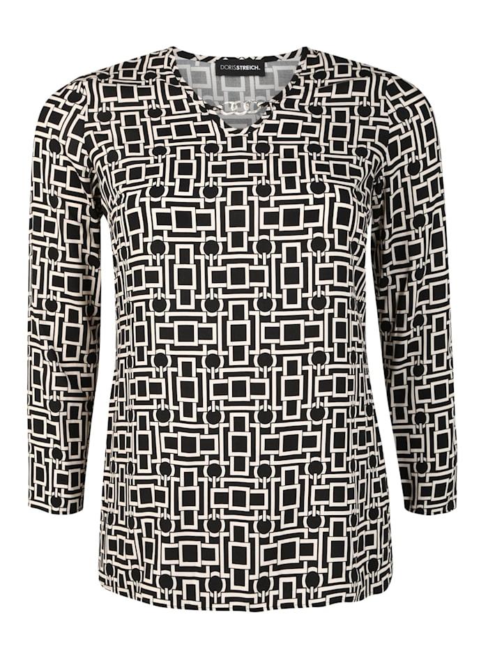 Doris Streich Bluse mit Allover-Print, schwarz/weiß