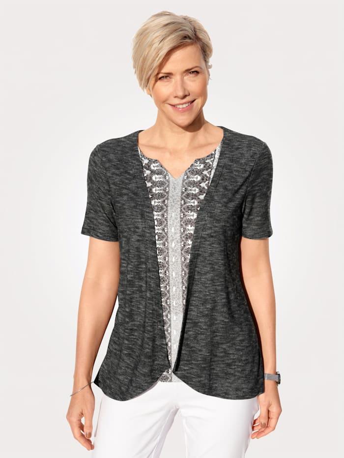 MONA T-shirt 2 en 1 à ravissant jeu de motifs, Noir/Blanc