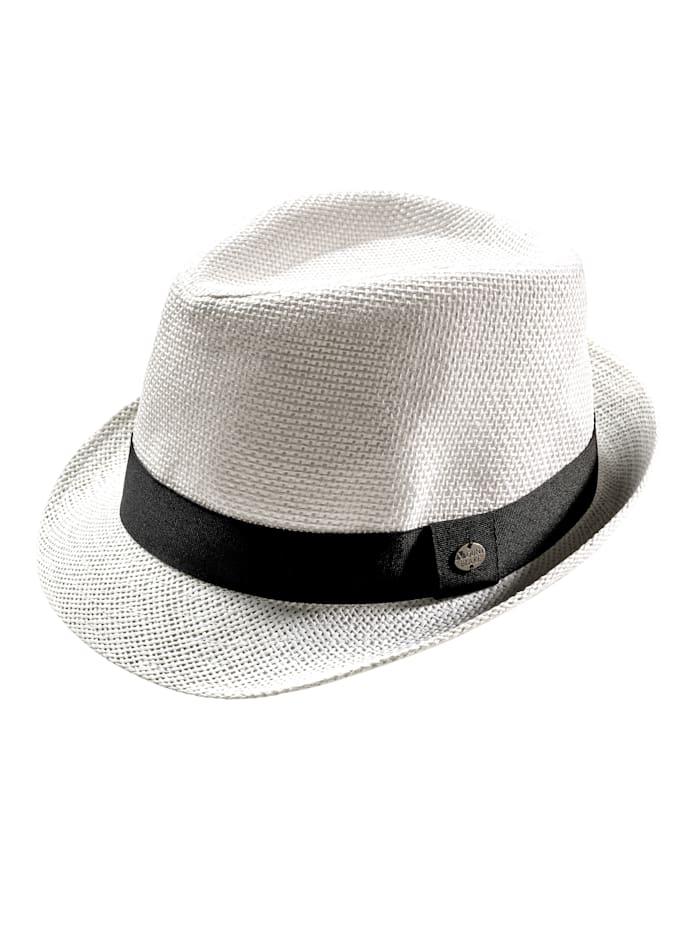 BABISTA Chapeau de paille forme trilby, Blanc