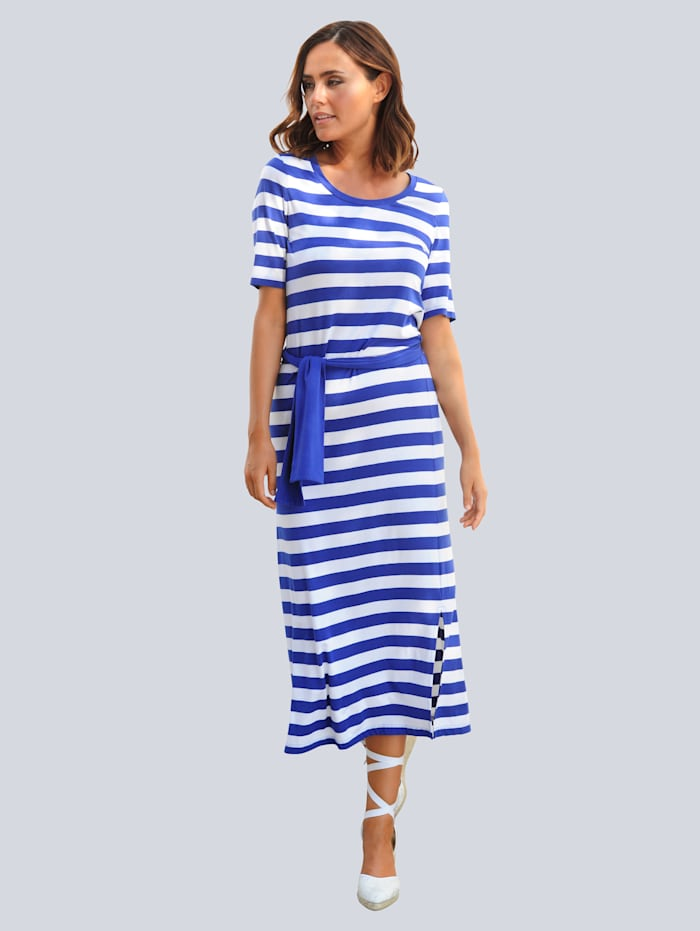 Alba Moda Strandkleid im sommerlichem Streifendessin, Weiß