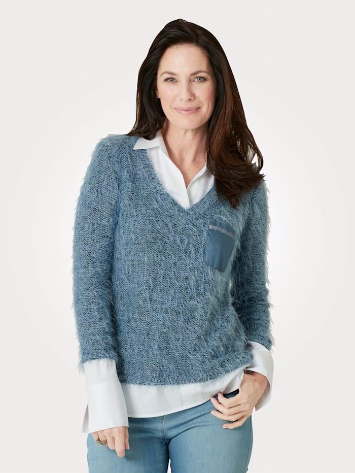 Just White Pullover mit Bluseneinsatz, Hellblau/Weiß