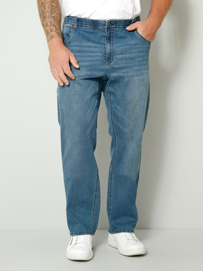 Men Plus Jeans met ceintuurlussen, Blue stone
