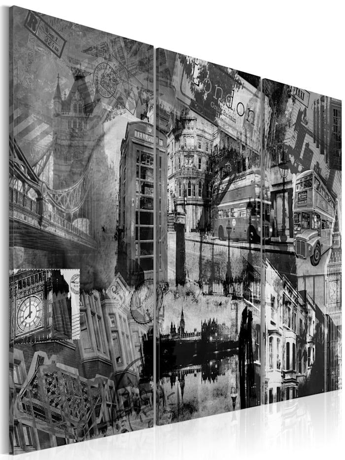 artgeist Wandbild Das Wesen von London - Triptychon, schwarz-weiß