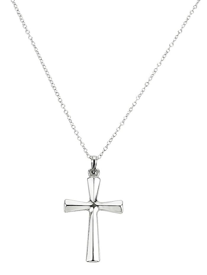 Pendentif 'croix' et chaîne, Blanc