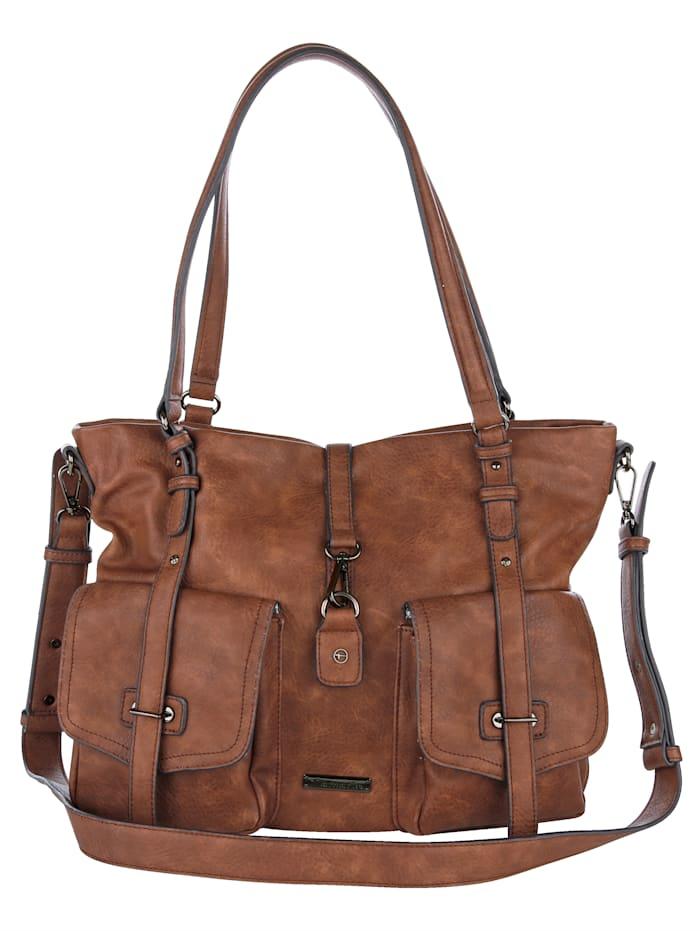 Tamaris Tamaris-handväska med praktisk fackindelning, konjak
