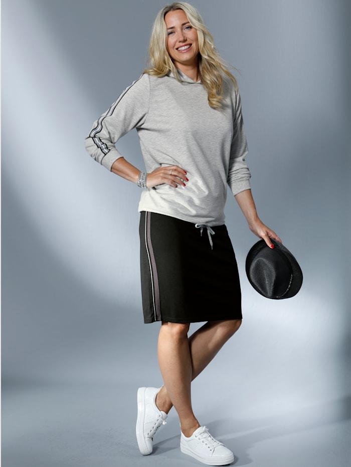 MIAMODA Sweatshirt mit dekorativem Streifenband an den Ärmeln, Grau