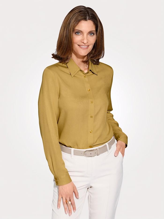 MONA Bluse aus reiner Viskose, Senfgelb