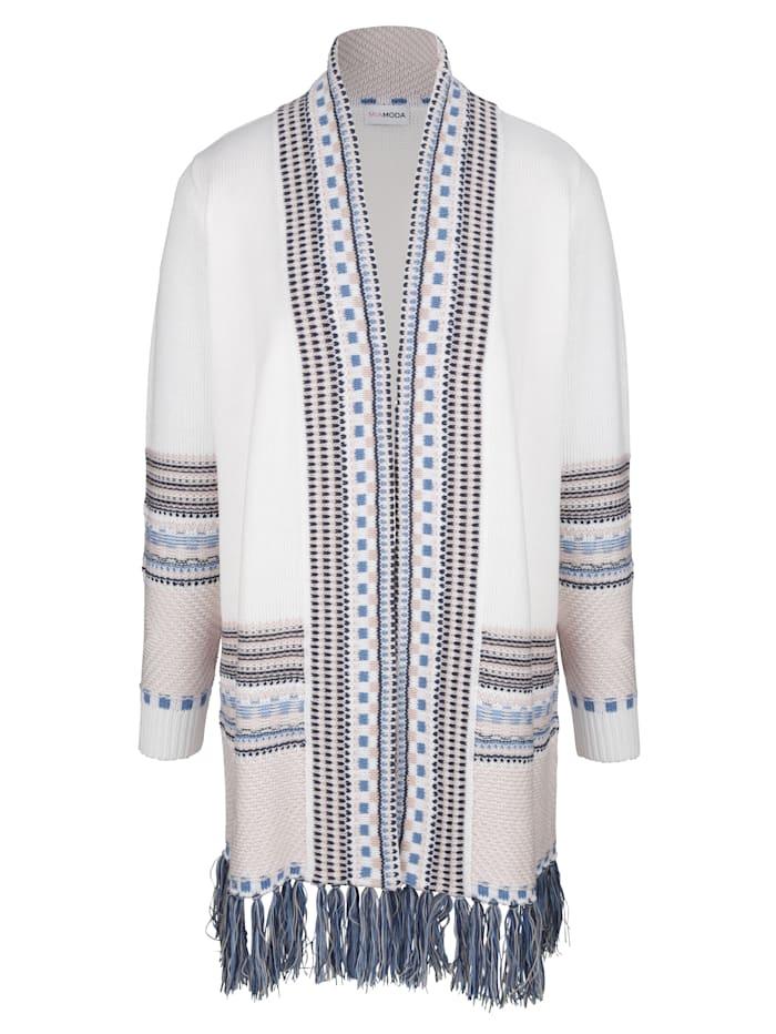 MIAMODA Dlhý sveter so strapcami na ukončení, Prírodná biela/Svetlomodrá/Ružová