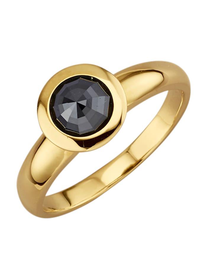 Diemer Diamant Damesring met diamant, Zwart