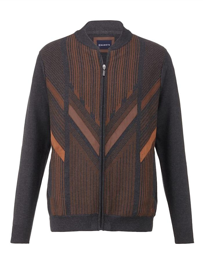 BABISTA Vest met contrasterend patroon, Antraciet/Bruin