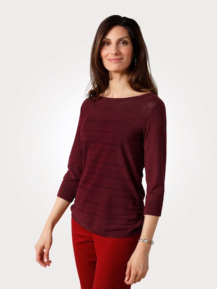 MONA Pullover mit Ajour-Strick, Bordeaux