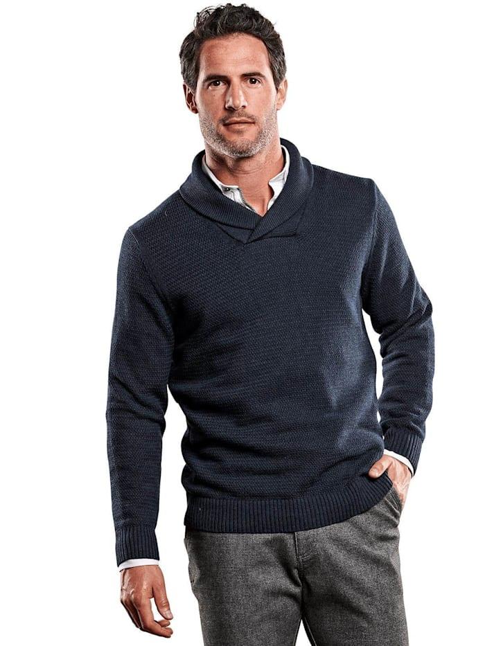 Engbers Pullover mit Schalkragen, Marineblau