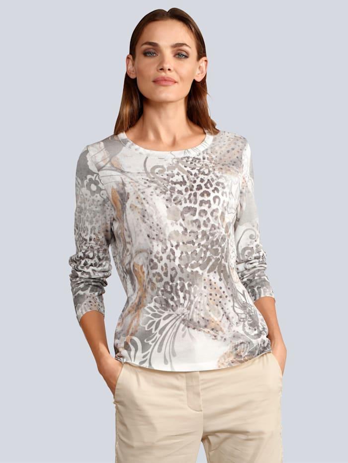 Alba Moda Pullover mit modischem allover Print, Ecru/Grau