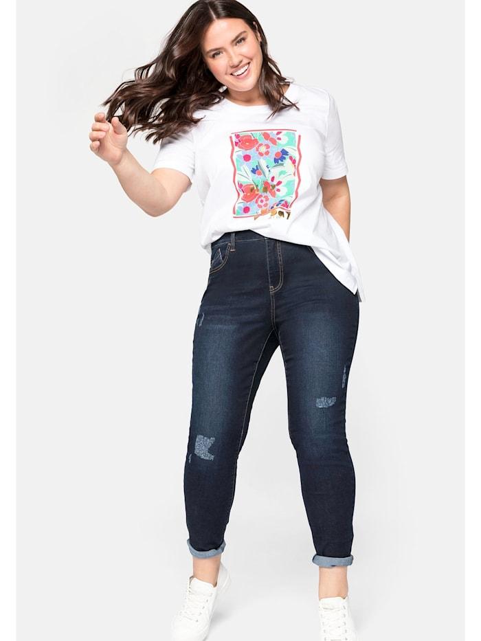 Sheego Jeans mit Destroyed-Effekten und offener Saumkante, dark blue Denim