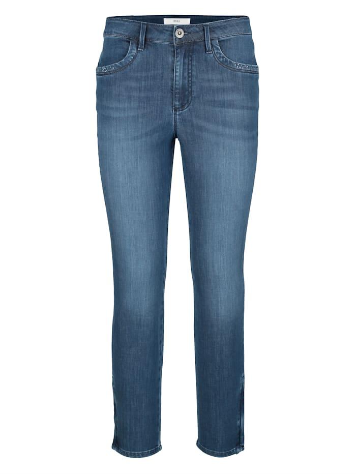 Jeans mit Hotfixsteinchen am Saum