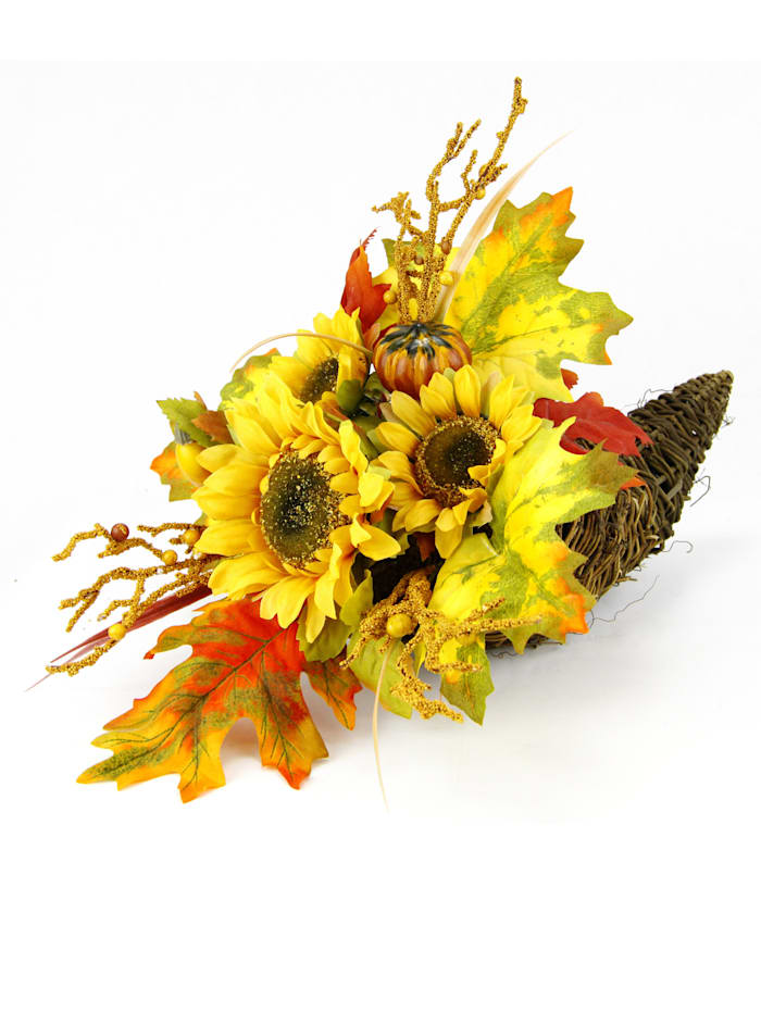 """IGEA Arrangement """"Sonnenblumen"""" im Horn, Gelb/orange"""
