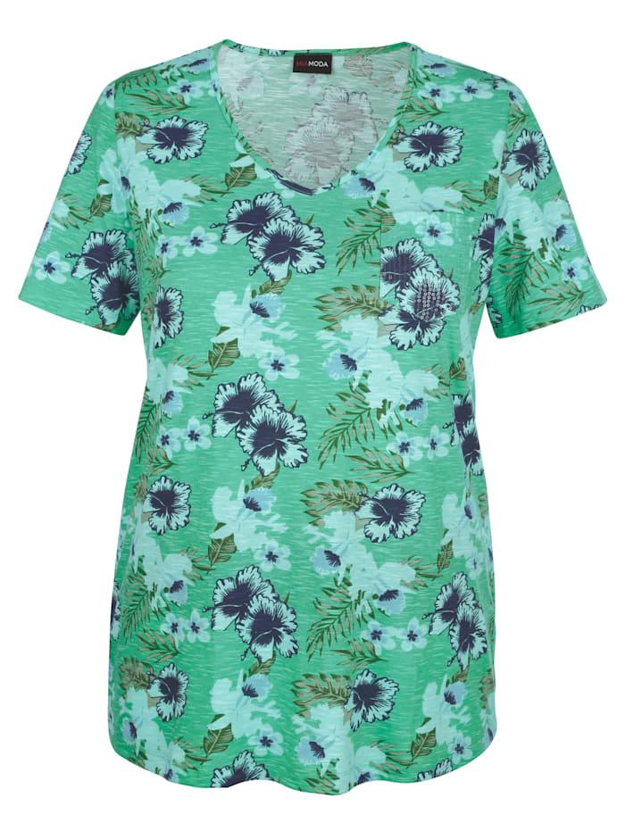 MIAMODA Tričko s kvetinovou potlačou, Zelená