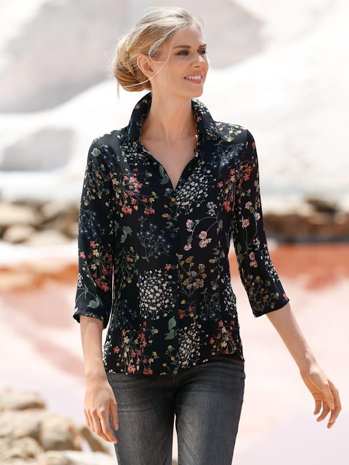 Dress In Bluse mit dekorativen Blumendruck, Schwarz