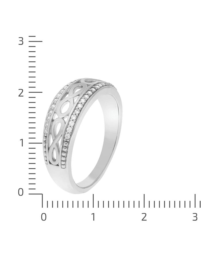 Ring 925/- Sterling Silber Zirkonia weiß Matt/Glanz