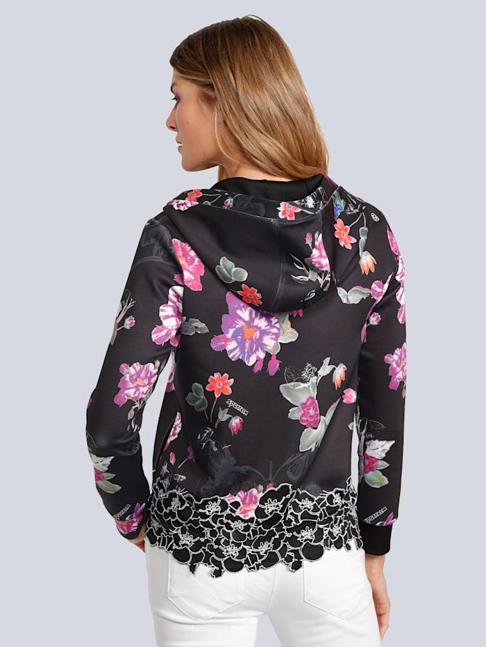Sweatjacke im farbenfrohen Blumenprint mit Spitze am Saum