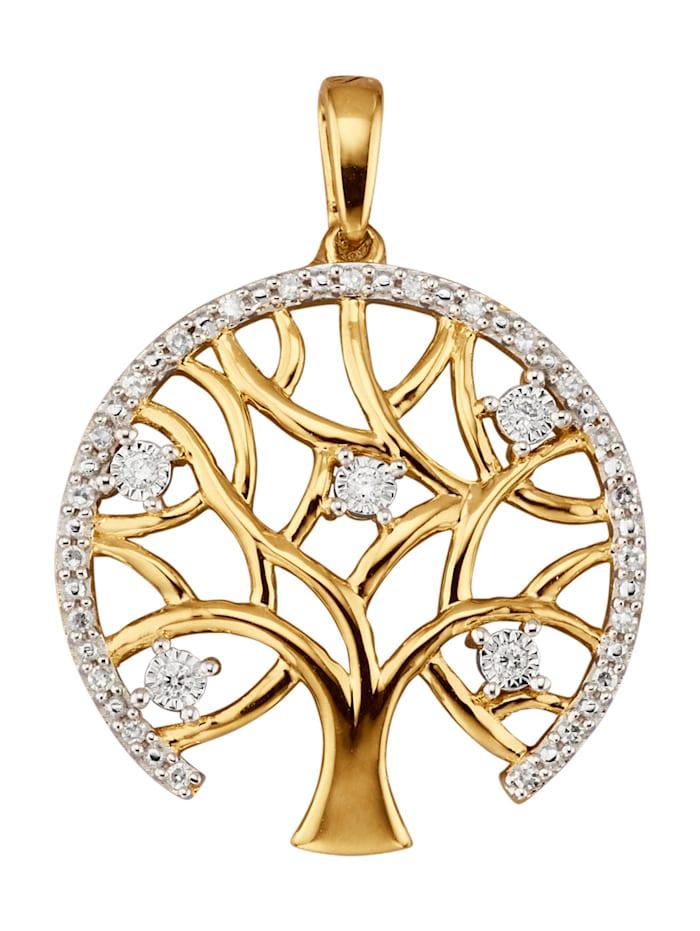 Diemer Diamant Anhänger mit Brillanten und Diamanten, Gelbgoldfarben