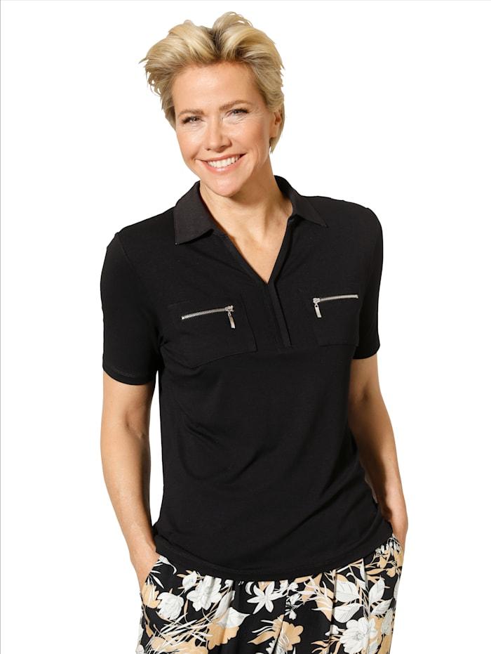 MONA Shirt mit Reißverschluss-Taschen, Schwarz