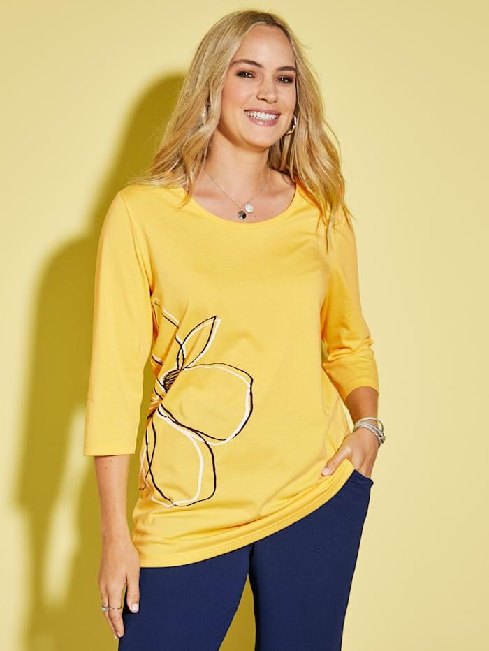 MIAMODA Shirt met bloemenprint, Geel/Marine/Wit