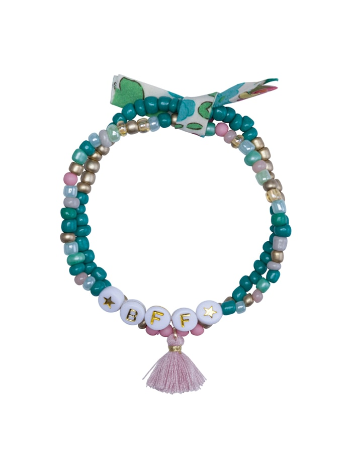 Codello Handgefertigtes Perlenarmband mit Mini-Quaste, turquoise