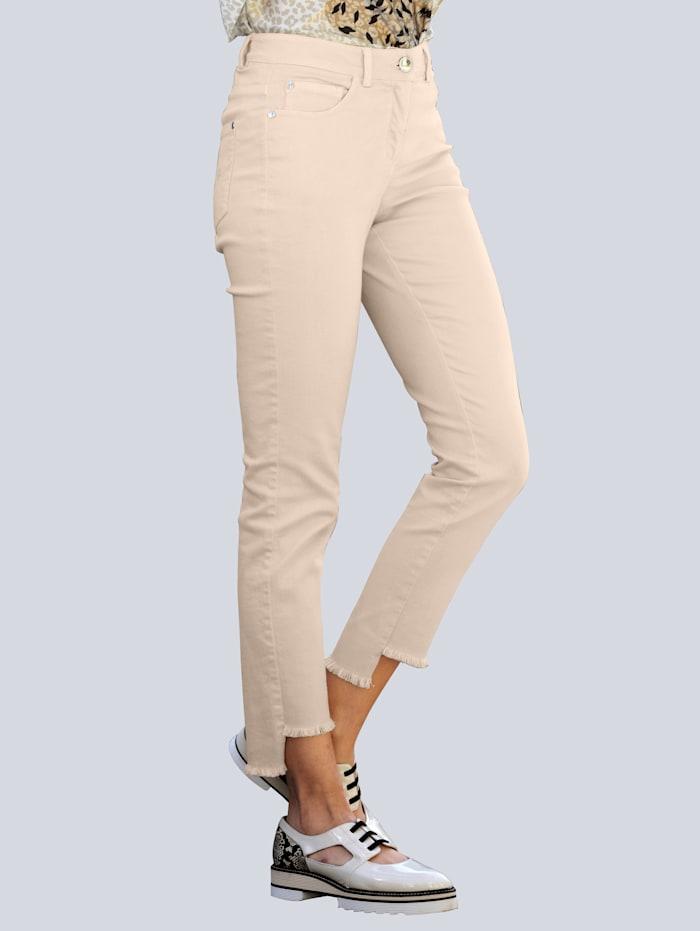 Alba Moda Jeans mit Fransensaum, Beige