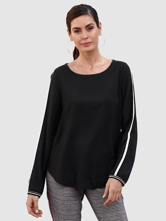 Laura Kent Shirt met contrastkleurige band, Zwart