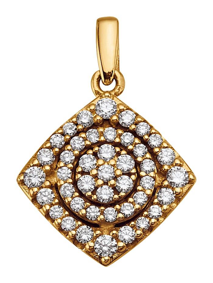 Diemer Diamant Hanger met 42 briljanten, Geelgoudkleur