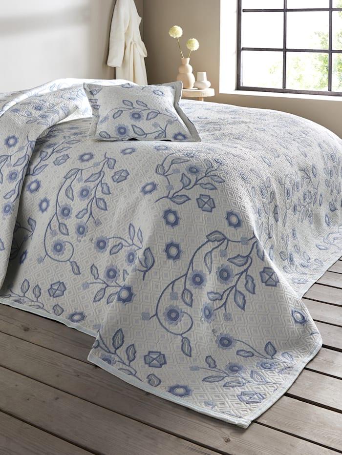 Webschatz Bettüberwurf 'Neya', Creme-Weiß/Hellblau