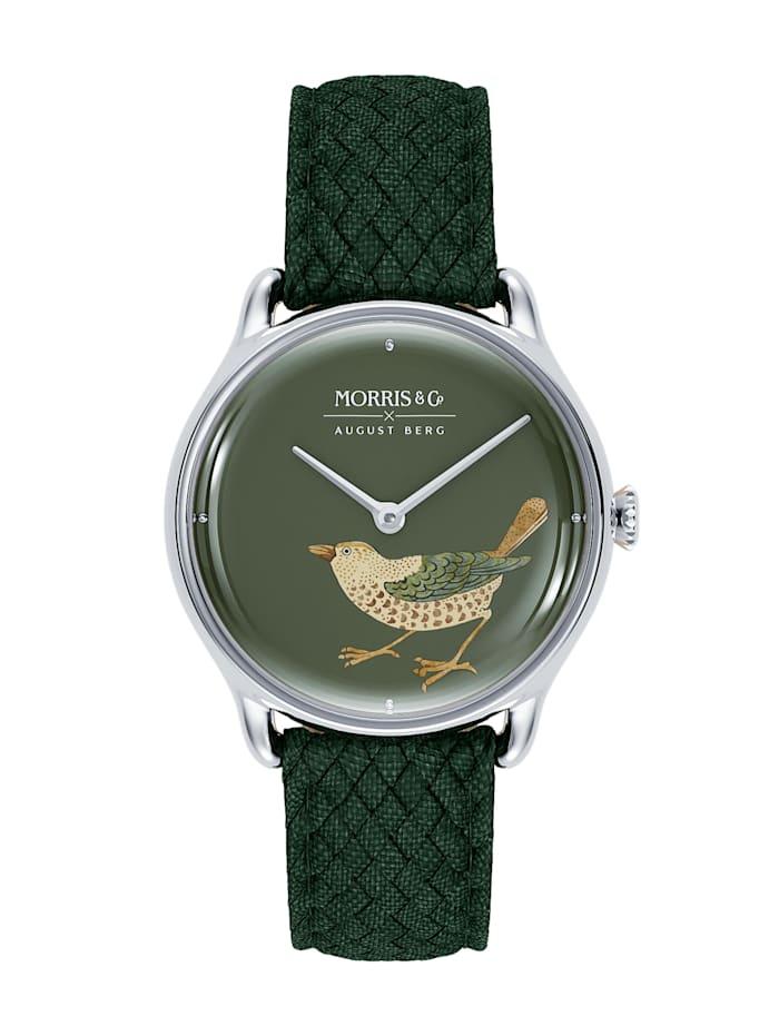 August Berg Uhr MORRIS & CO Silver Bird Green Perlon 30mm, crimson