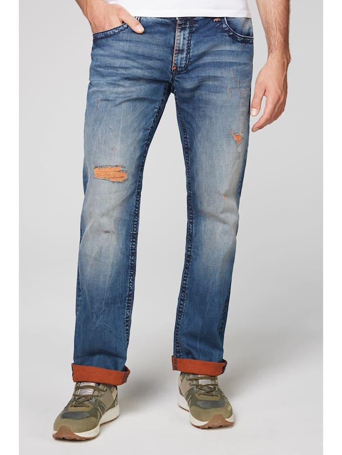 Camp David Jeans CO:NO mit Destroys und gefärbter Innenseite, blue orange