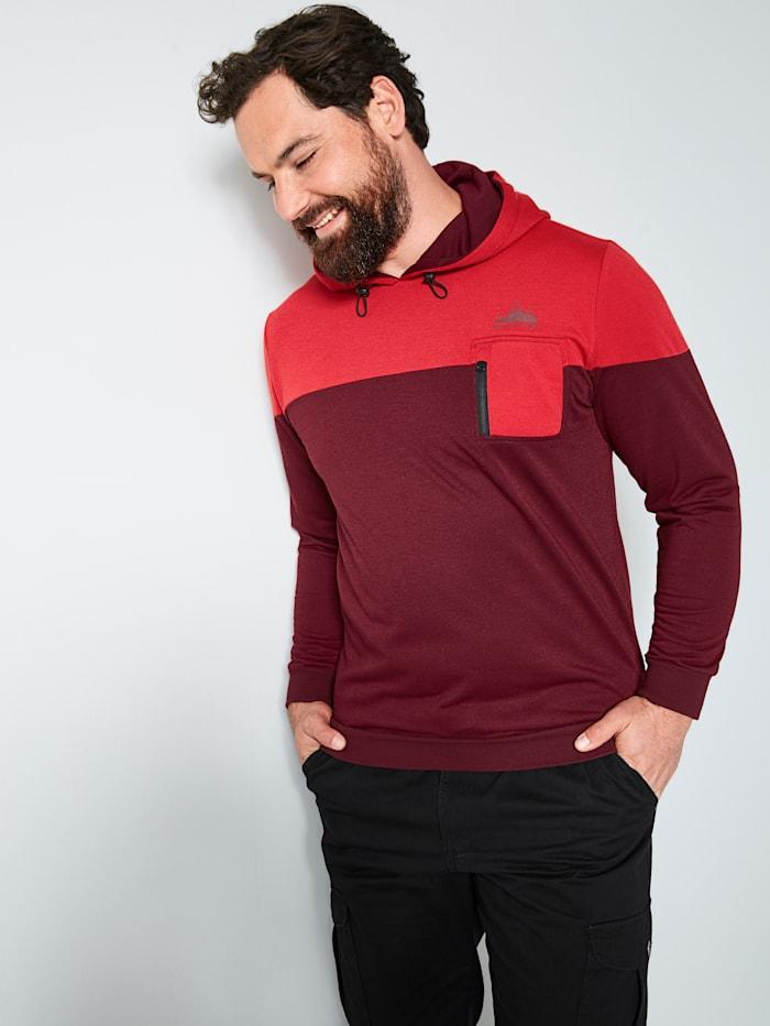 Men Plus Kapuzensweatshirt schnelltrocknend, Hellrot/Bordeaux