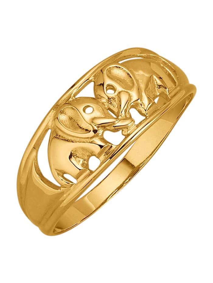 Elefanten-Ring in Gelbgold 375, Gelbgoldfarben
