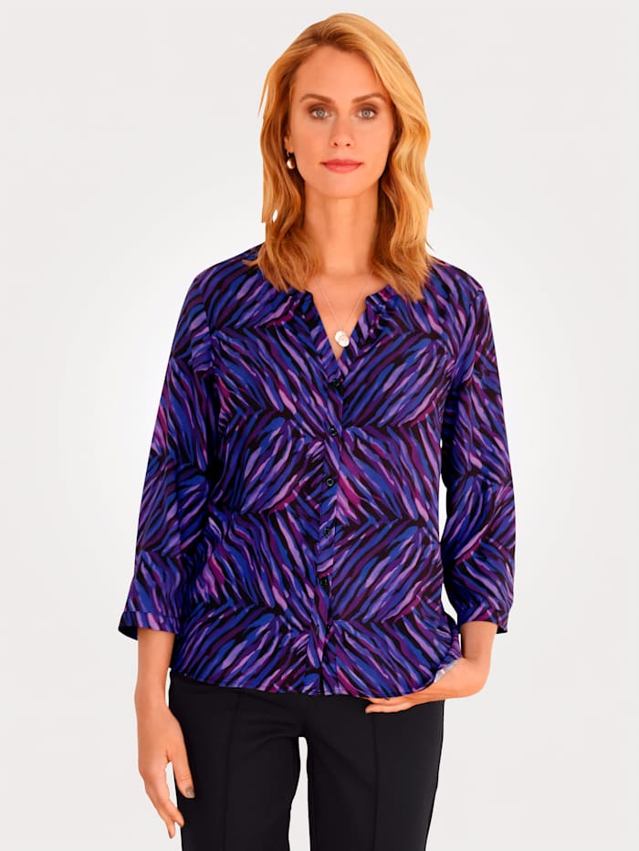 MONA Blouse with a graphic print, Pink/Purple