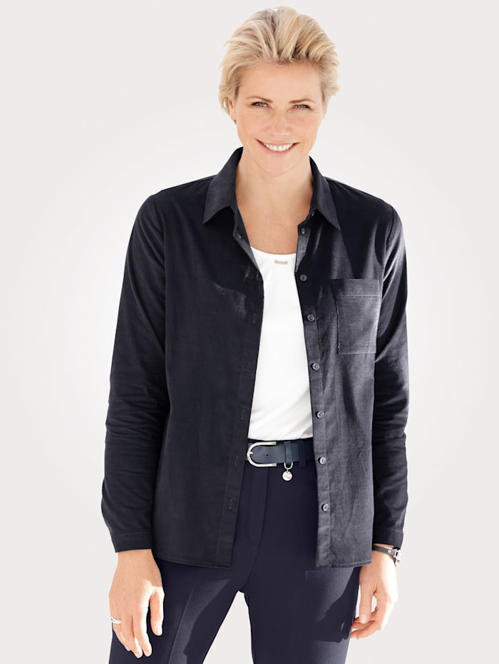 MONA Bluse in modischer Feincord-Optik, Marineblau