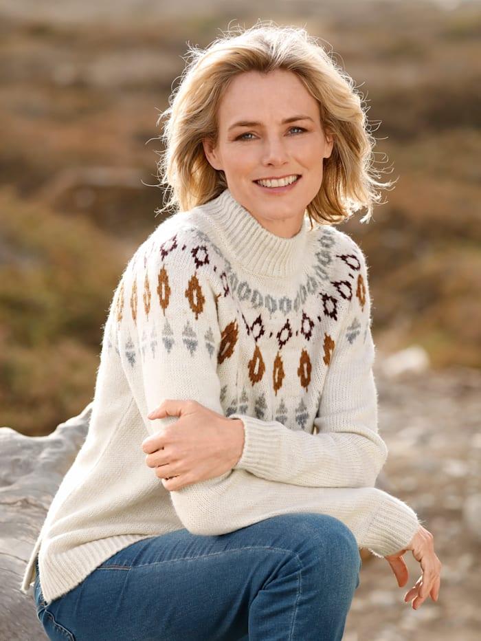 Dress In Pullover mit Norwegermuster, Wollweiß