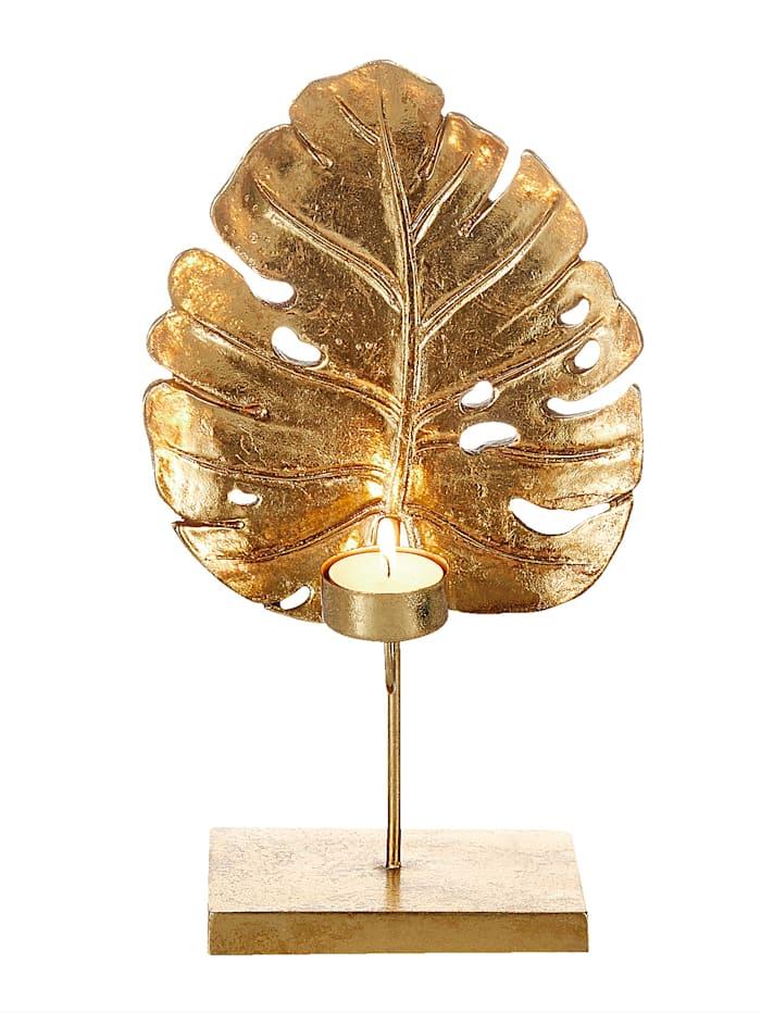 Kersten Teelichthalter, gold, Blattform, Gold