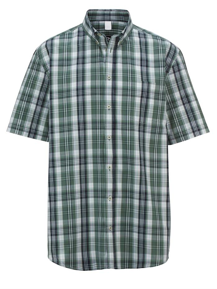 Men Plus Overhemd met modieus ruitpatroon, Lindegroen/Marine/Wit