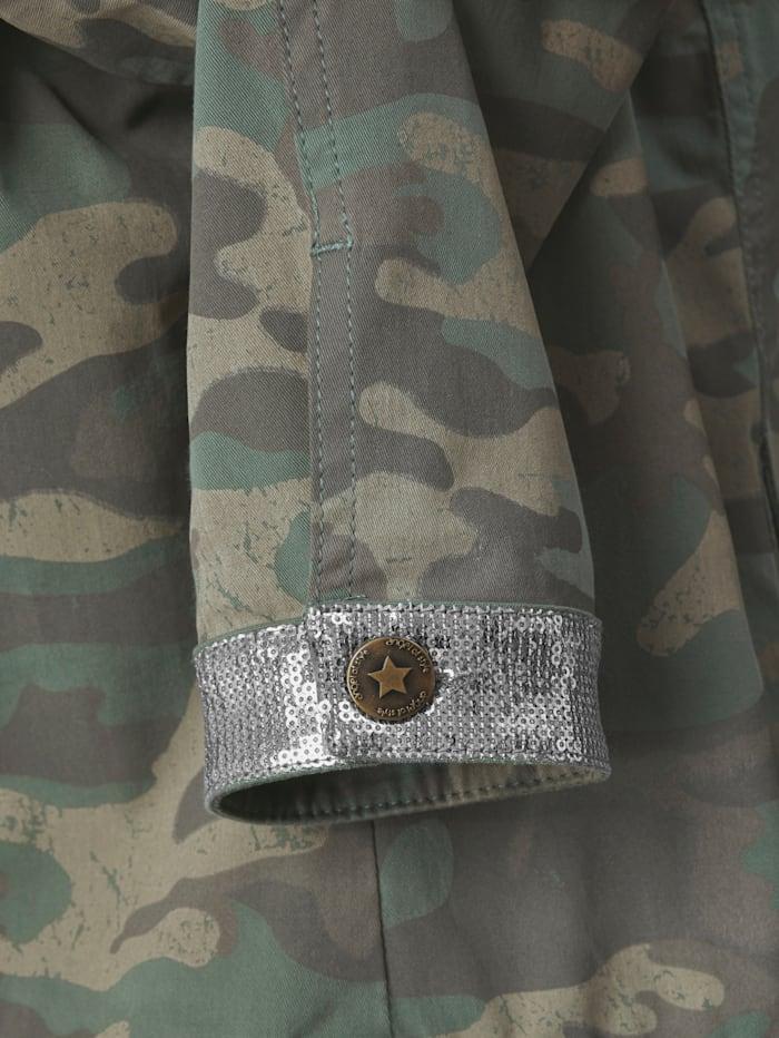 Jeansjacke mit Glitzereffekt an Ärmeln und Schultern