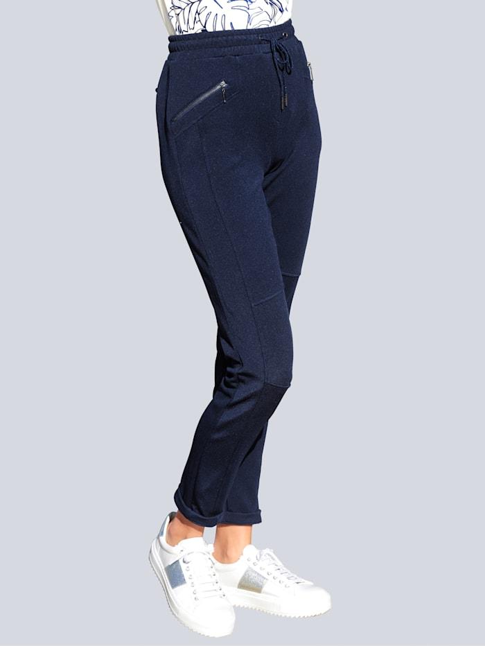 Alba Moda Hose aus konfektionierter Jerseyware mit Struktur, Marineblau