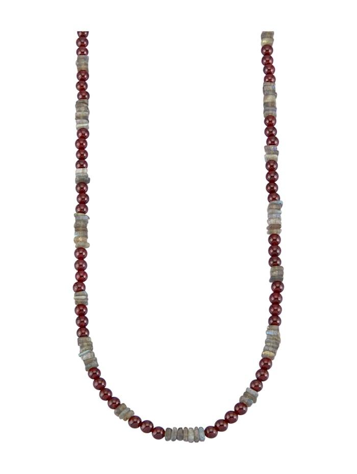 Halskette mit Granat-Steinen und Labradorit, Multicolor