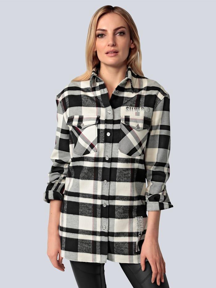 SPORTALM Bluse aus gebrushter Baumwolle, Schwarz